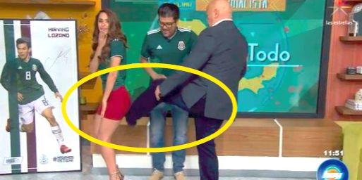 气象女主播为让国家队世界杯夺冠甘愿翘臀被踢