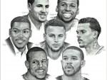 手绘素描30队球星群像