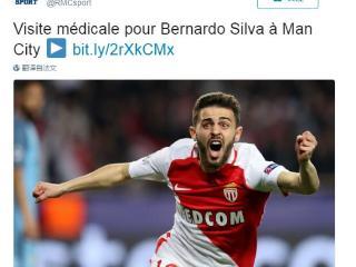 法媒:贝尔纳多接受曼城体检 转会费达7000万欧
