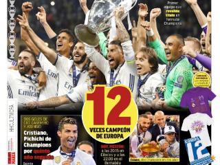 西甲今日头版:皇马卫冕欧冠冠军,C罗连续五年穿金靴