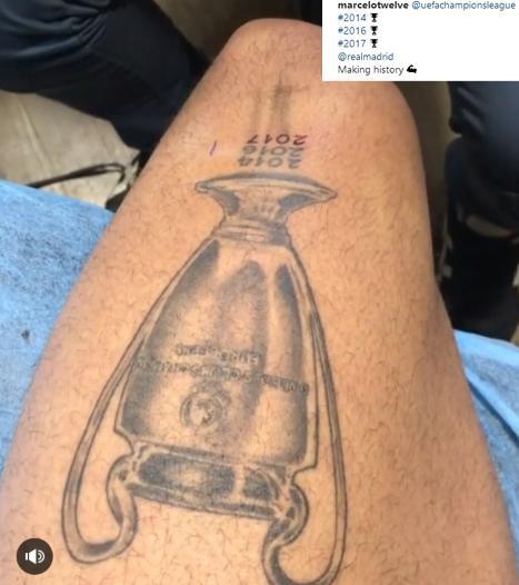 马塞洛晒新纹身:欧冠冠军杯