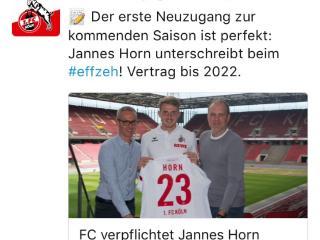 官方:科隆签下狼堡后卫J-霍恩