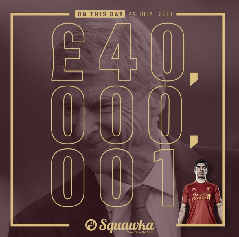历史上的今天:阿森纳4000万+1镑报价苏亚雷斯