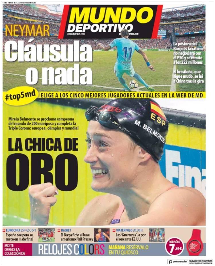 西甲今日头版:拉莫斯重回训练中,西班牙女足进八强