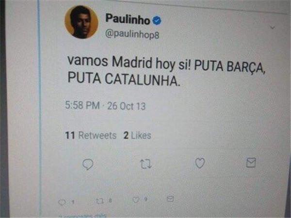 保利尼奥遭外国网友挖坟:曾发推辱骂巴萨?