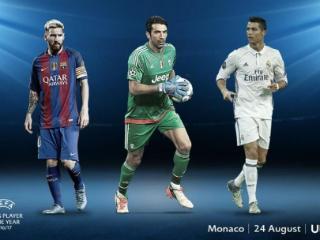 欧足联年度最佳球员候选:梅西,布冯,c罗图片