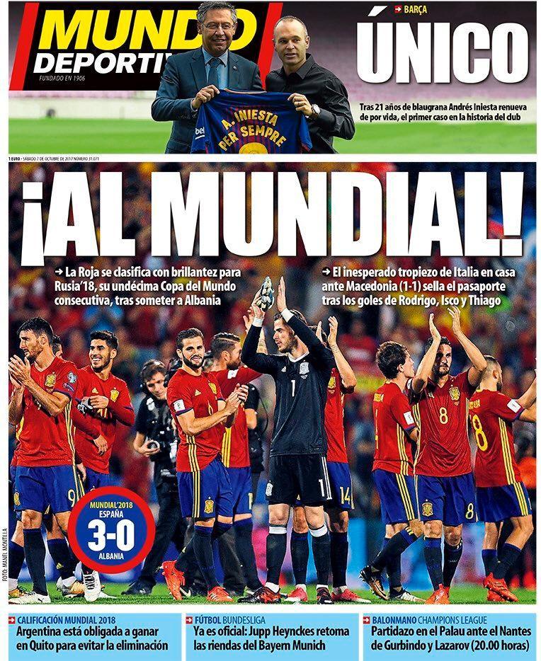 西甲今日头版:西班牙晋级世界杯,小白巴萨定终