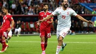 西班牙1-0伊朗,科斯塔破门,斗牛士军团手握出线主动权