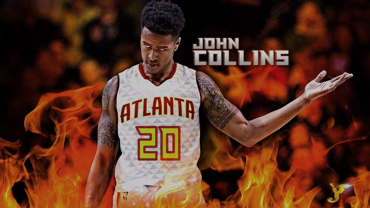 约翰-科林斯拿到两双 创老鹰新秀记录_篮球_东方体育图片