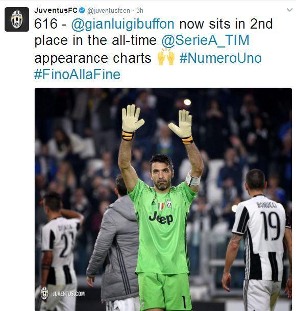 616次!布冯成为意甲联赛出场第二多球员