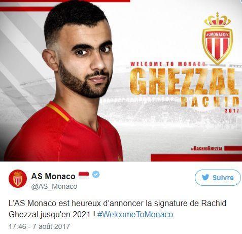 官方:阿尔及利亚国脚加扎尔加盟摩纳哥