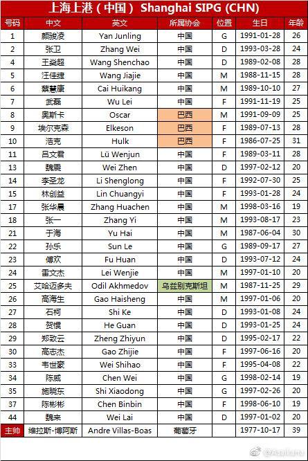 上港亚冠淘汰赛新名单出炉:韦世豪入选