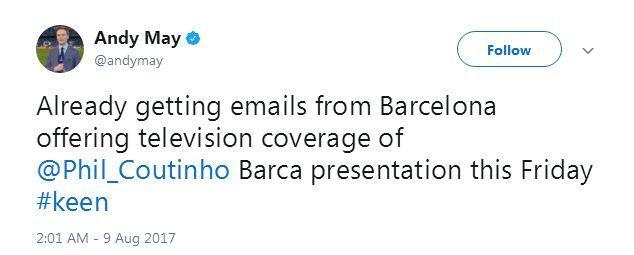 BT记者:收到库蒂尼奥亮相巴萨邀请函