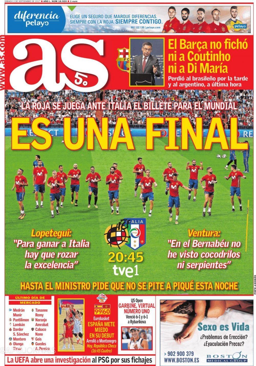 西甲今日头版:转会窗已经关闭,西班牙将战意大利