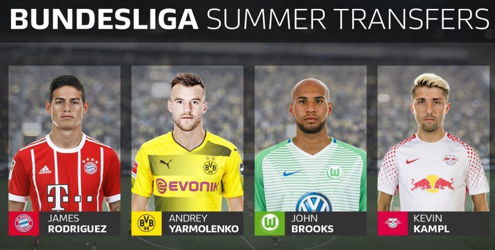 德甲夏季转会一览:J罗加盟拜仁 登贝莱创德甲转出纪录