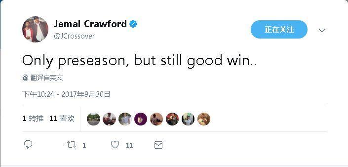 克劳福德:虽然只是季前赛 仍然是场漂亮的胜利