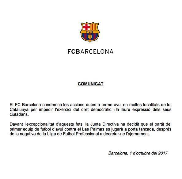 巴萨官方声明:对拉斯帕尔马斯的比赛封闭进行