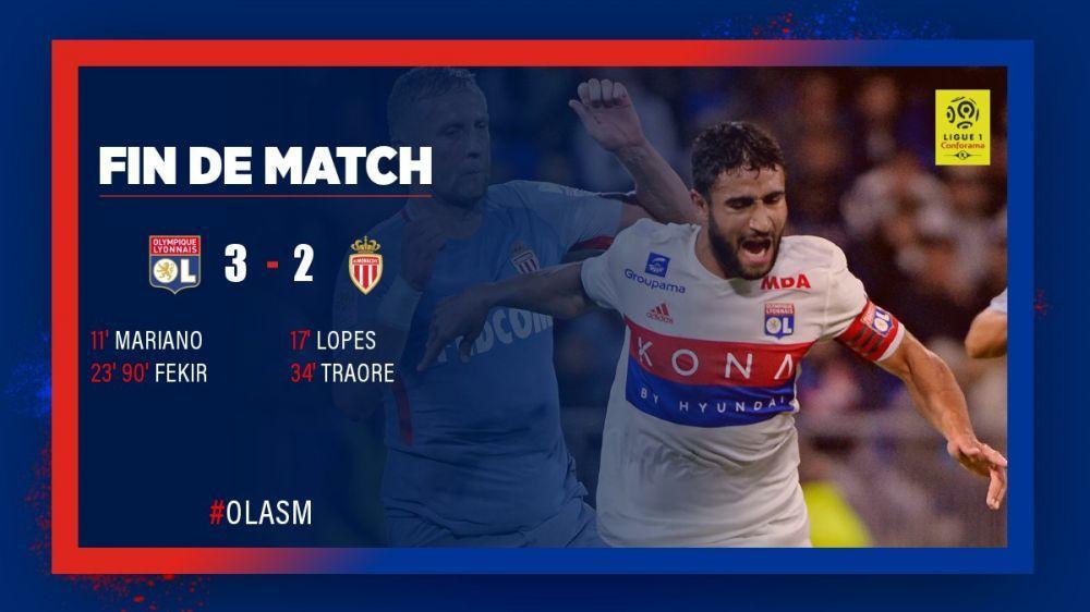 法甲-费基尔双响马里亚诺破门 里昂3-2补时绝杀摩纳哥