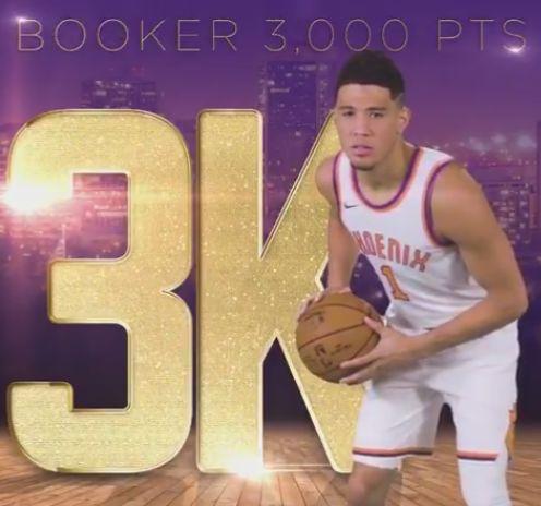 布克成为NBA历史上第4年轻的3000分先生