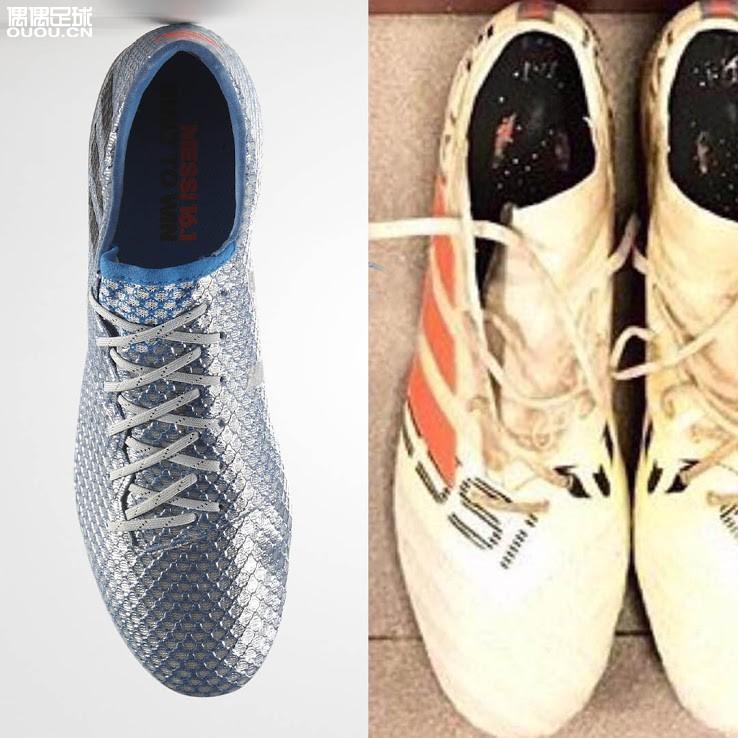 近距离观察梅西定制版Nemeziz足球鞋
