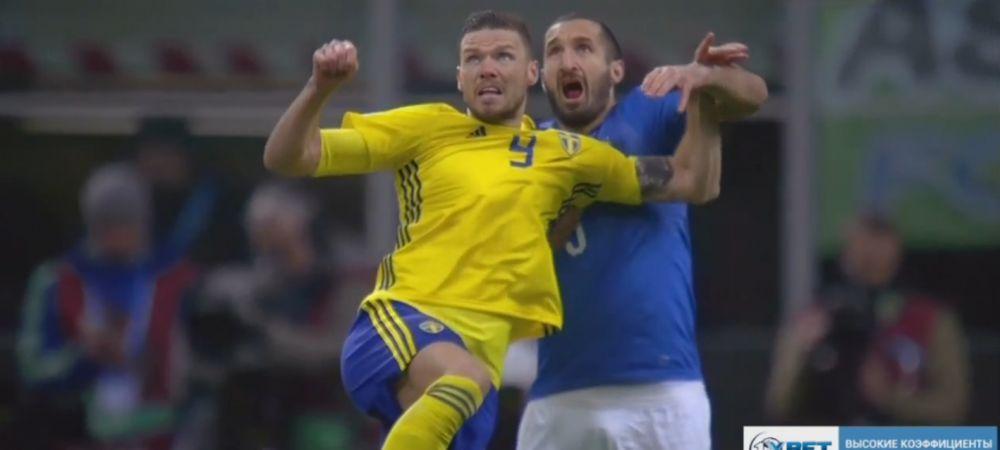 半场-意大利主场0-0暂平瑞典 总比分意大利0-1落后