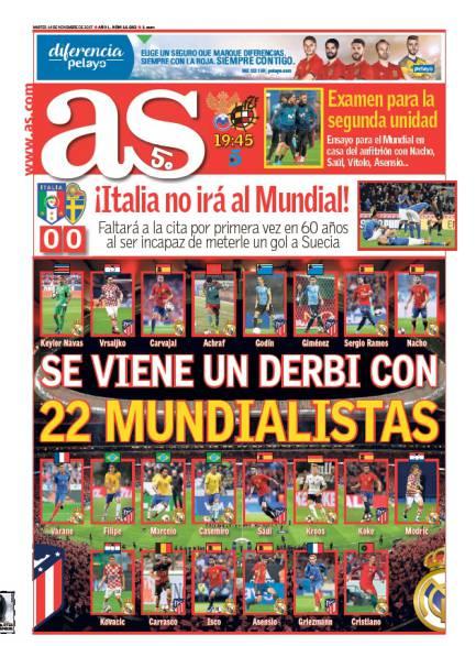 西甲今日头版:意大利无缘世界杯 西班牙今战俄罗斯