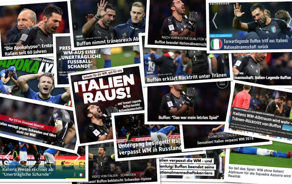 德甲今日头版:世界杯出局意大利哭泣 国足U20征战德丁