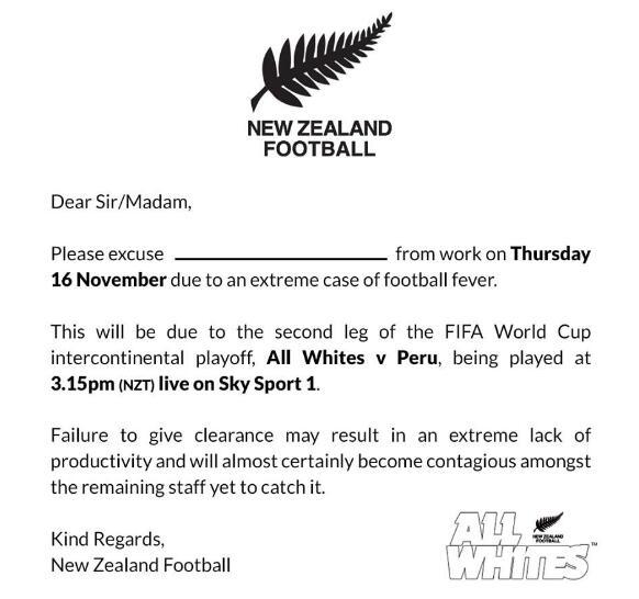 """新西兰国家队为球迷设计""""请假模板"""""""